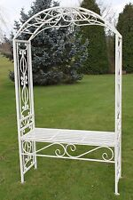 Versailles Style Metal Rose Arch and Seat in Antique White Finish
