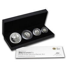 2012 GB 4-Coin Silver Britannia Proof Set (w/Box & COA) - SKU #68758