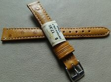 New ZRC Made in France Honey Ostrich Calf 12mm Watch Band Chrome Buckle $17.95