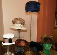 Vintage Womens Hat LOT Millinery 6 Pcs Straw Feathers Velvet Black Tan Taupe