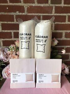 "IKEA Light Pink GURLI CUSHION COVERS 20 x 20"" (2)& FJADRAR Feather Cushions! (2)"
