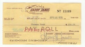 Harry James - Trumpet Big Band Legend - Autographed 1976 Check w/ PSA COA