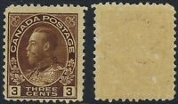 Canada Scott 108: 3c Brown King George V Admiral wet printing, Gum Skips, F-NH