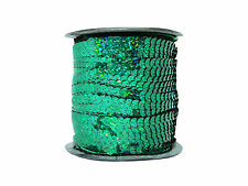 Sequin Row Green Holographic (100m Reel) | Green Strung Sequins