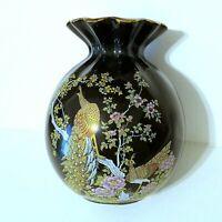 Vintage Black Oriental Vase Peacocks & Floral Design w/ Gold Trim marked Japan