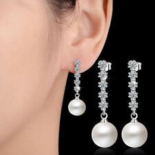 Ladies Fashion 925 Sterling Silver Zircon Pearl Ear Stud Dangle Earrings