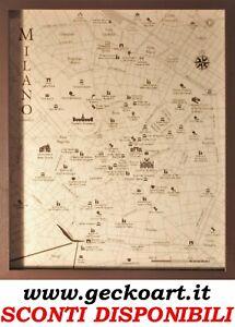 Milano Mappa Cartina 3D Quadro Moderno Map Chart   www.geckoart.it