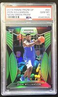 2019-20 Prizm DP Zion Williamson RC Rookie Neon Green Prizm /125 PSA 10 = POP 7