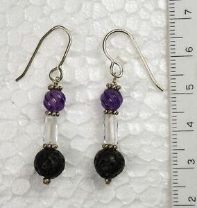 Amethyst, Clear Quartz & Lava Stone Earrings (#20) - RETIREMENT SALE