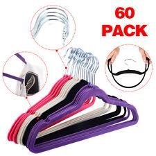 60PCS Non Slip Velvet Clothes Suit/Shirt/Pants Hangers White, Black, Purple,Red