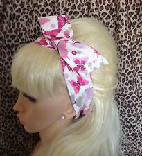 WHITE PINK BUTTERFLY PRINT COTTON BENDY HAIR WRAP WIRED SCARF HEADBAND 50S RETRO
