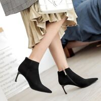 Womens Ladies Vogue Suede Leather Pointed Toe Zip High Heel Ankle Boots Shoes ga
