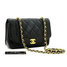 a18 CHANEL Authentic Diana Flap Navy Chain Shoulder Bag Quilted Lambskin