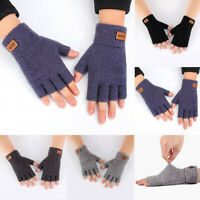 FINGERLESS GLOVES WOLLY MITTS THERMAL MENS WARM WINTER KNITTED COLD THINSULATE