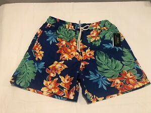 NWT $79.50 Polo Ralph Lauren Mens Classic Swim Trunks Blue Floral Size MEDIUM