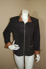 LYN Made In Canada Black Suede Lined Leather Jacket Katie~Size 12~$990