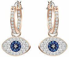 Swarovski Crystal Duo Evil Eye Hoop Pierced Earrings Rose Gold Plating 5425857