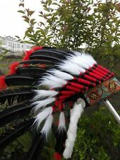 Black indian feather headdress indian war bonnet for halloween costume supply