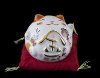 Lucky Cat Figurina Gatto Giapponese Bobtail Bianco Maneki Neko 60 MM Ceramica