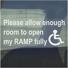 Allow Enough Room To Open RAMP Fully-Disabled Car Window Sticker Disability Sign
