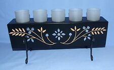 ELEMENTS Black Metal Votive/Tealight Candle Holder w/ 5 Glass Cups & Candles