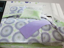7 pcs Cynthia Rowley Full Duvet Set & Sheet Set Lime/Lavender Circle Medallion