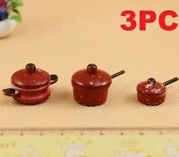 3PCs/Set 1:12 Scale Red Pots Dollhouse Miniature Re-ment Doll Home Scene Gift
