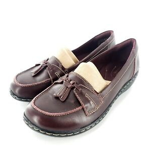 Clarks Ashland Bubble Burgundy Leather Slip On Shoes Womens 7.5 W NEW Worn Once
