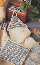 Crochet Pattern ~ DISHCLOTH SET Potholder, Towel Holder ~ Instructions
