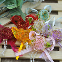 7pcs Organza ribbon flower bows appliques wedding DIY Craft doll E54