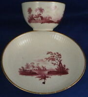 18thC Volkstedt Porcelain Puce Scenic Cup & Saucer Porzellan Tasse Thuringia