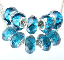 5pcs silver spacer beads fit Charm dark blue crystal European Bracelet DIY #E352