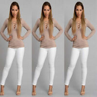 Women's Lace Up Criss Cross V Neck Long Sleeve Blouse T-Shirt Tee Tops Solid