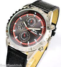 Gents NUOVO Slazenger Watch, Cinturino Nero, giorno, data, 24 ore multi funzione GHIERE