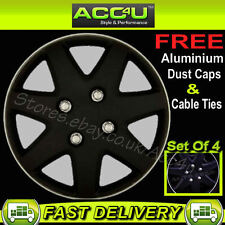 "15"" Matt Black Sports Car Wheel Trims Hub Cap Covers+FR"