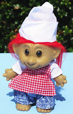 "4"" Pizza BBQ Chef Troll Red Hair Check Plaid Apron Denim Jeans Hat Vintage 90s"