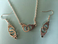 TIBETAN SILVER HANDCUFF EARRINGS NECKLACE GOTHIC PUNK EMO FREEDOM 50 Shades Gift