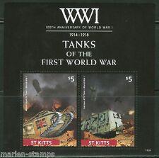 ST. KITTS  2014 TANKS OF WORLD WAR I SOUVENIR SHEET  MINT NH