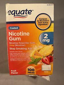 Nicotine Gum Stop Smoking Aid Fruit Flavor 2mg. 100pcs Exp: 09/22