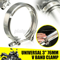 3'' 76mm Stainless Steel V-Band Turbo Downpipe Exhaust Clamp Vband Mild Flange