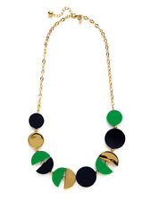 Kate Spade Double Exposure Necklace NWT Green Gold Black Modern Art Discs