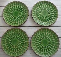 "Vintage Visun China Green Crackle with Brown Salad Plates 9"" Set of 4 Japan"
