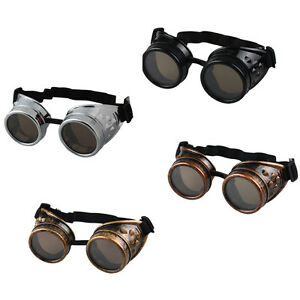 Vintage Victorian Steampunk Goggles Glasses Welding Cyber Punk Gothic Cospl  JR