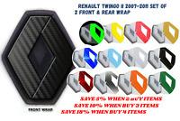 Renault Twingo II 2007-2011 Vinyl Overlay Wrap Badges Front & Rear Black Carbon