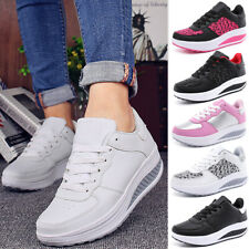Women Wedge Sneakers Breathable Walking Shoes Lace Up Trainers Platform Shoes