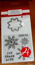 CLEAR ACRYLIC HAMPTON ART STAMP & DIE SET SNOWFLAKE ~JOY PEACE LOVE wks CTMH blk