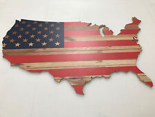"American Flag United States America USA Wood Sign 48""x28"""