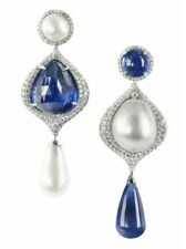 Trendy Party Earrings Dangle Pearl Cz White Solid Sterling Silver Handmade New