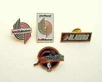 4 Vtg 1980s Portland Trailblazers Blazers Basketball NBA Team Pin set NOS New