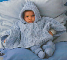 Baby Aran Poncho with Hood 3 - 18 months  Knitting Pattern